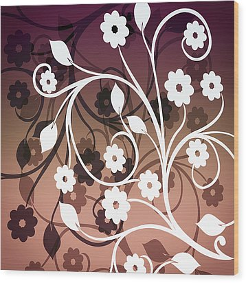 Wood Print featuring the digital art Ornametal 2 Purple by Angelina Vick