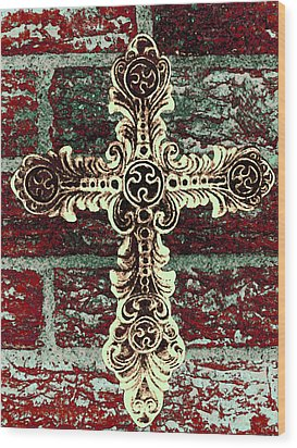 Ornate Cross 1 Wood Print by Angelina Vick