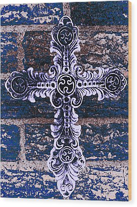 Ornate Cross 2 Wood Print by Angelina Vick