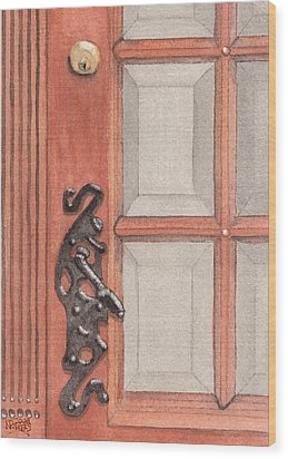 Ornate Door Handle Wood Print by Ken Powers