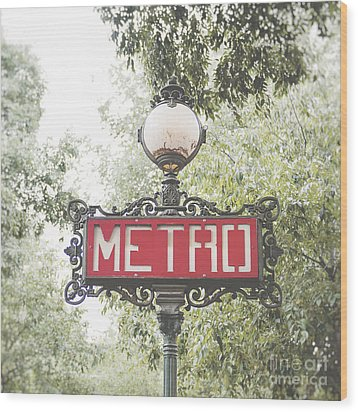 Ornate Paris Metro Sign Wood Print by Ivy Ho