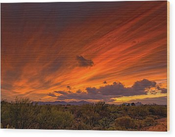 Wood Print featuring the photograph Oro Valley Sunset H6 by Mark Myhaver