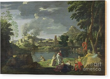 Orpheus And Eurydice Wood Print by Nicolas Poussin