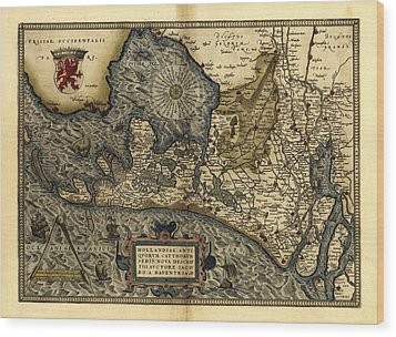 Ortelius's Map Of Holland, 1570 Wood Print by Library Of Congress, Geography And Map Division