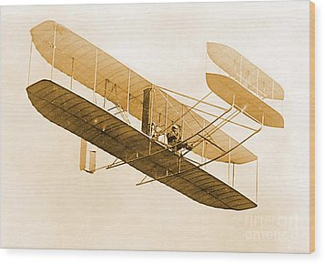 Orville Wright In Wright Flyer 1908 Wood Print by Science Source
