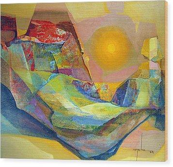 Os1959bo005 Abstract Landscape Potosi 22.75x18.5 Wood Print by Alfredo Da Silva