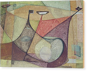 Os1960ar001ba Abstract Design 16.75x11.5 Wood Print by Alfredo Da Silva