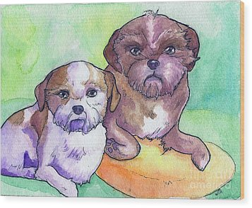 Oscar And Max Wood Print by Whitney Morton
