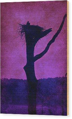 Osprey Nest Silhouette - Manasquan Reservoir Wood Print by Angie Tirado