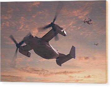 Ospreys In Flight Wood Print by Mike McGlothlen