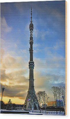 Ostankino Tower Wood Print by Gouzel -