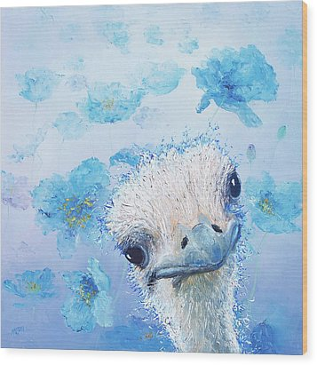 Ostrich In A Field Of Poppies Wood Print by Jan Matson