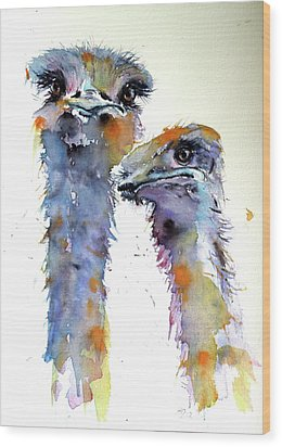 Wood Print featuring the painting Ostriches by Kovacs Anna Brigitta