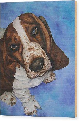 Otis The Basset Hound Wood Print by JoLyn Holladay