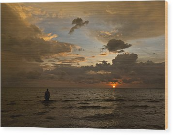 Otres Beach Sunset Wood Print