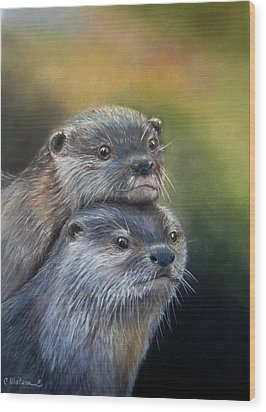Otter Be Two Wood Print by Ceci Watson