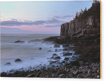 Otter Cliff Awash Wood Print