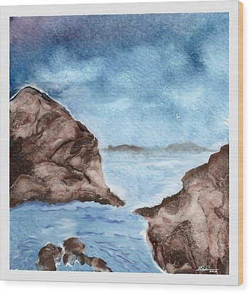 Otter Cove Wood Print by Beverly Johnson