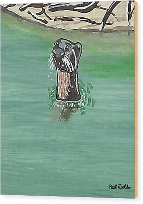 Otter In Amazon River Wood Print