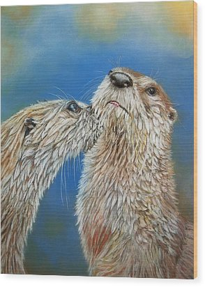 Wood Print featuring the painting Otter Love by Ceci Watson