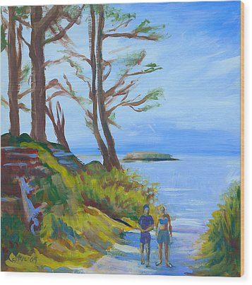 Otter Rock Marine Garden Path Wood Print by Pam Van Londen