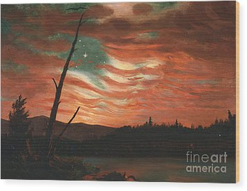Our Banner In The Sky Wood Print by Frederic Edwin Church