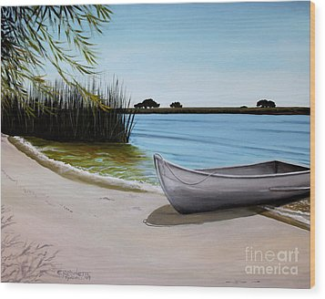 Wood Print featuring the painting Our Beach by Elizabeth Robinette Tyndall