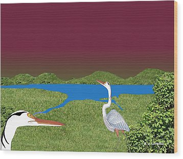 Our Blue Herons Wood Print