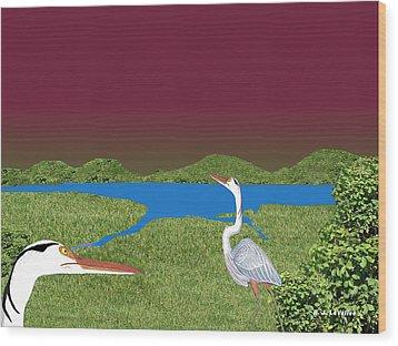 Our Blue Herons Wood Print