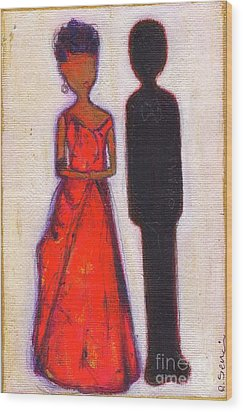 Our First Lady In Red Her Husband Is Black Wood Print by Ricky Sencion