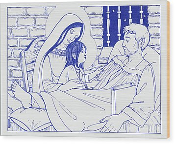 Wood Print featuring the painting Our Lady And The Holy Child Jesus Visit St Ignatius The Convalescent In Loyola by William Hart McNichols
