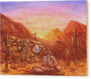 Wood Print featuring the painting Our Lady Of The Desert by Judy Filarecki