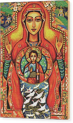 Wood Print featuring the painting Our Lady Of The Sign by Eva Campbell