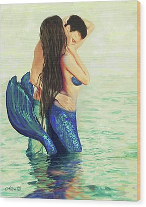 Wood Print featuring the painting Our Treasured Love by Leslie Allen