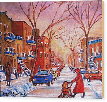 Wood Print featuring the painting Out For A Walk With Mom by Carole Spandau
