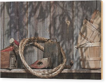 Out In The Barn Iv Wood Print by Tom Mc Nemar