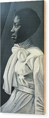 Out Of The Box Woman In Large White Bow  Wood Print by Joyce Owens