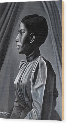 Out Of The Box Woman In Shirtdress Wood Print by Joyce Owens