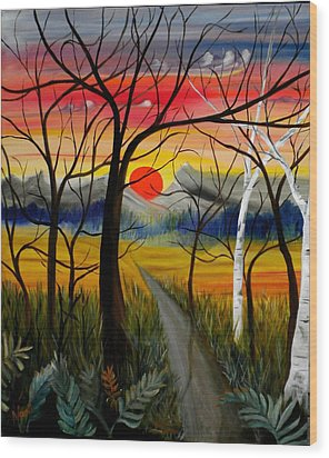 Wood Print featuring the painting Out Of The Woods by Renate Nadi Wesley