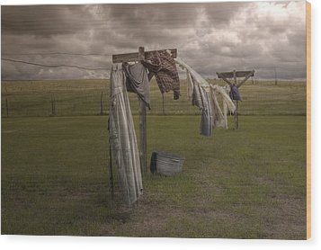 Out On The Line Wood Print by Michele Richter