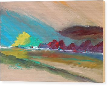 Wood Print featuring the painting Out There by Ron Stephens