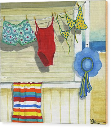 Out To Dry Wood Print by Debbie Brown
