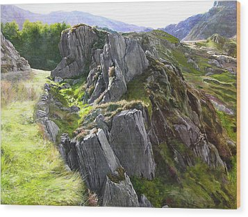Wood Print featuring the painting Outcrop In Snowdonia by Harry Robertson