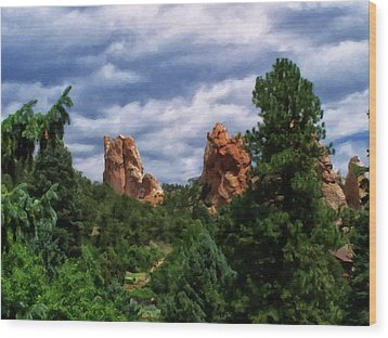 Wood Print featuring the digital art outcroppings in Colorado Springs by Chris Flees