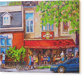 Wood Print featuring the painting Outdoor Cafe by Carole Spandau