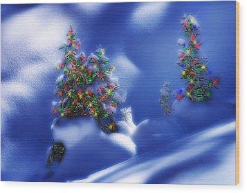 Outdoor Christmas Trees Wood Print by Utah Images