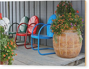 Outdoor Living Wood Print by Karon Melillo DeVega