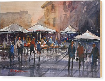 Outdoor Market - Rome Wood Print