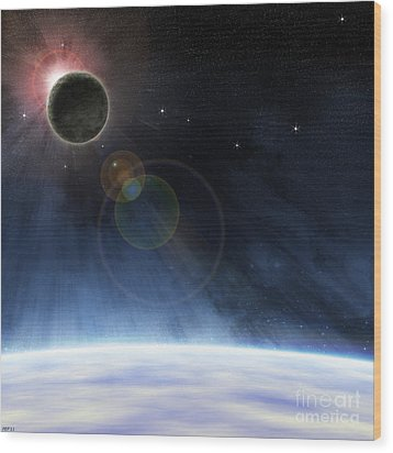 Wood Print featuring the digital art Outer Atmosphere Of Planet Earth by Phil Perkins