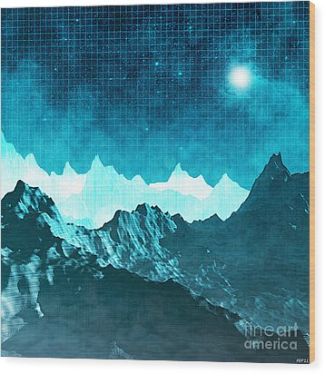 Wood Print featuring the digital art Outer Space Mountains by Phil Perkins